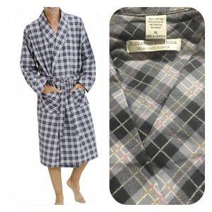 Plaid flannel bath robe